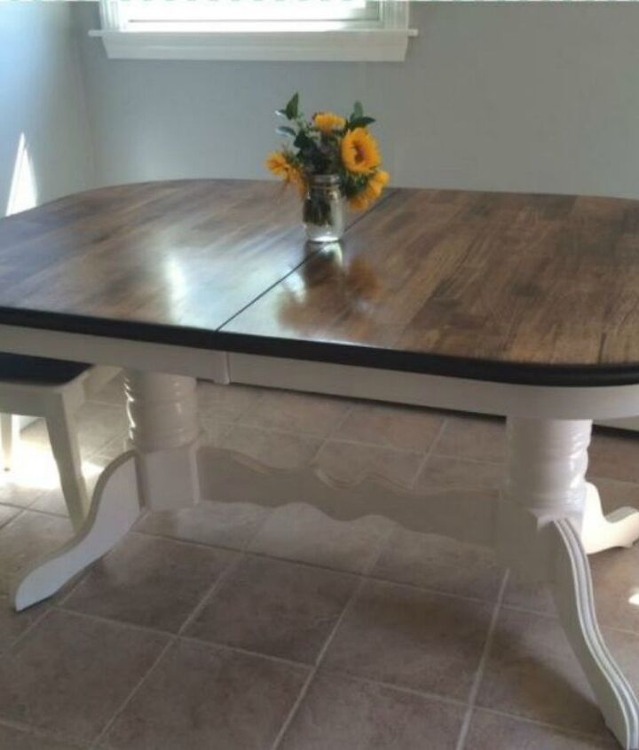 s 9 dining room table makeovers we can t stop looking at, painted furniture, After A modern farmhouse piece