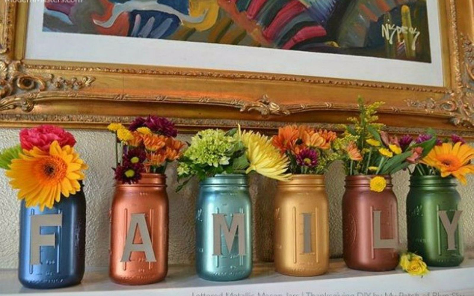 s 14 exciting mason jar ideas you just have to try, mason jars, 7 The gorgeous metallic mantle sign