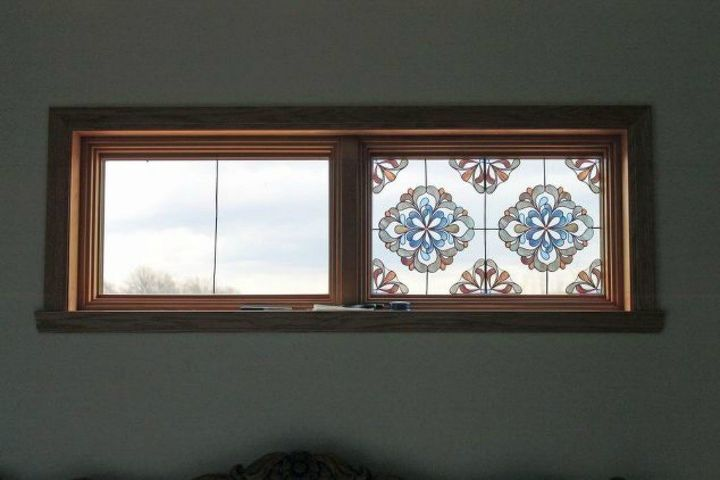 s how to get privacy without curtains, home decor, how to, window treatments, Create a faux stained glass window