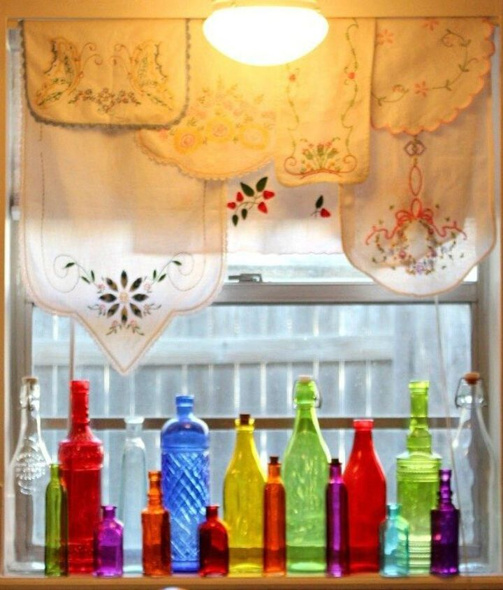 s how to get privacy without curtains, home decor, how to, window treatments, Line colorful bottles along the windowsill
