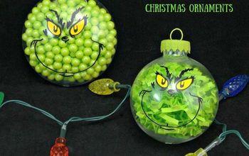 two adorable diy grinch christmas ornaments, christmas decorations, seasonal holiday decor