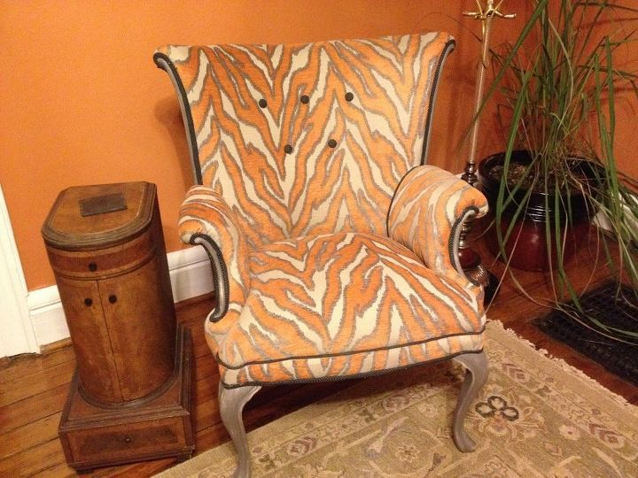 Orange Zebra Print Wingback Chair