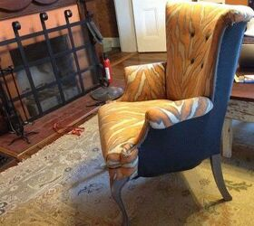 Orange Zebra Print Wingback Chair