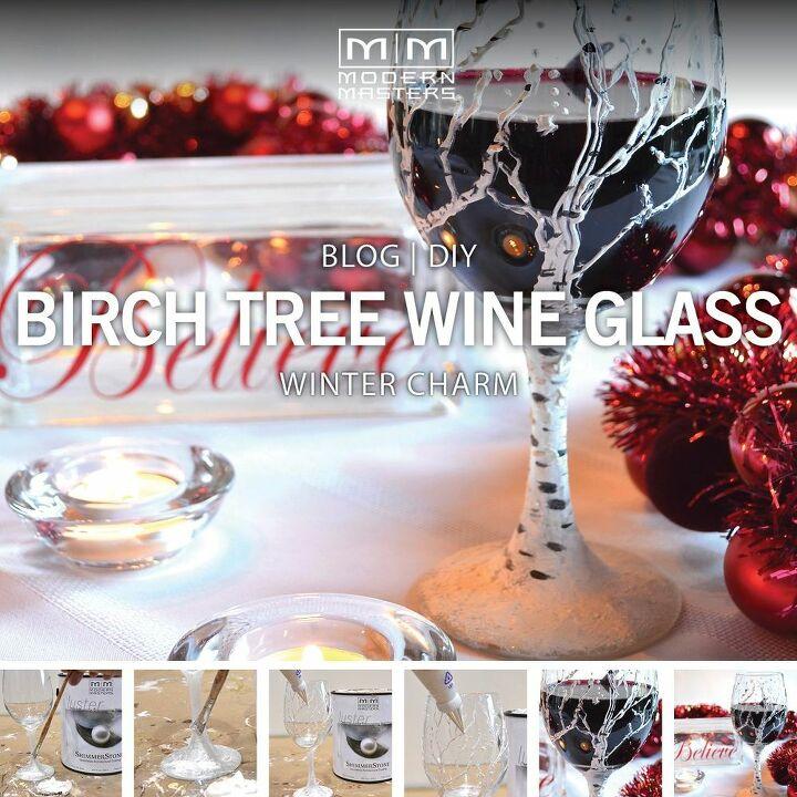 christmas diy birch tree wine glasses, gardening
