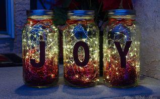 make gorgeous christmas luminaries using mason jars and twinkle lights, mason jars