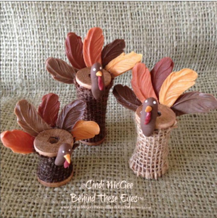 wooden spool turkeys