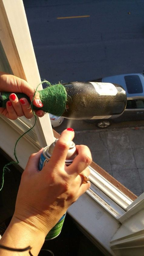 decorative twine wrapped wine bottle