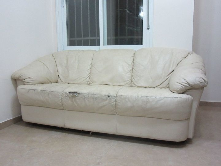 reupholstered torn couch, painted furniture, reupholster