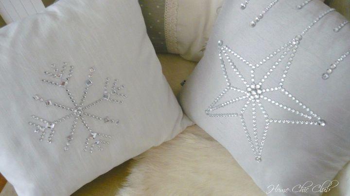 diy bling christmas pillows