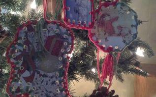 christmas cards into ornaments, christmas decorations, seasonal holiday decor