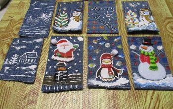 Re-Purposed Jean Denim Christmas Tree Ornaments