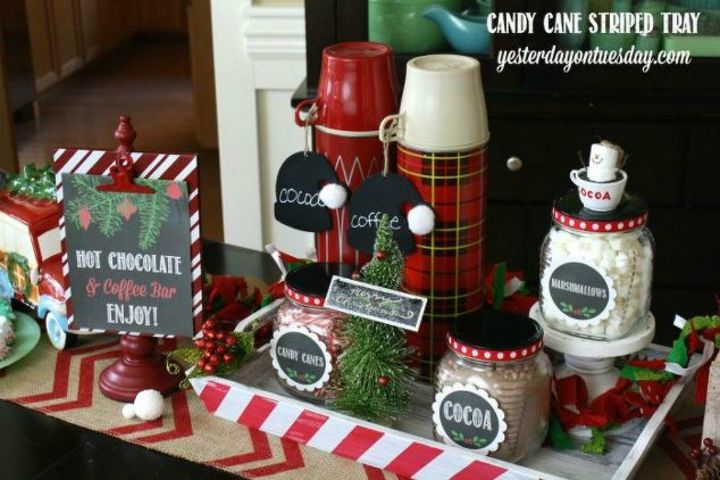 s make your guests smile with these diy hot beverage stations, This candy cane tray that is so festive
