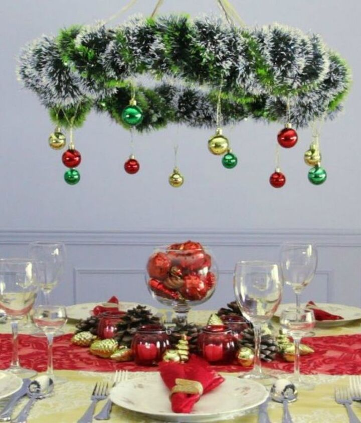s grab a hoola hoop for these 10 amazing decor ideas, home decor, Create a stunning Christmas chandelier