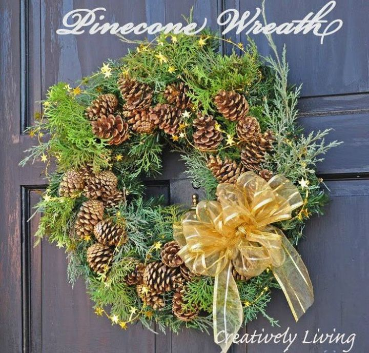 s don t hang your wreath before you see these 12 updates, crafts, wreaths, Jazz it up with some pinecones and a bow