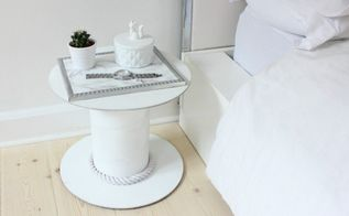 upcycle a cable spool into a bedside table, painted furniture