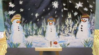 , These snowmen playing ball when people aren t looking are on a piece of cut glass that was painted dark on the back and the scene on the front