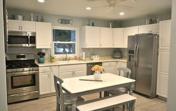 outdated dark kitchen remodel into a bright cheery coastal kitchen, home improvement, kitchen design