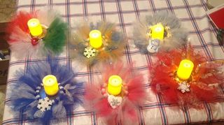 , First time I am good idea tried different style jar metal lids for Christmas color fluffy laces and fake holder candles