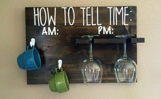 how to tell time coffee and wine sign hanger, crafts, how to, painted furniture