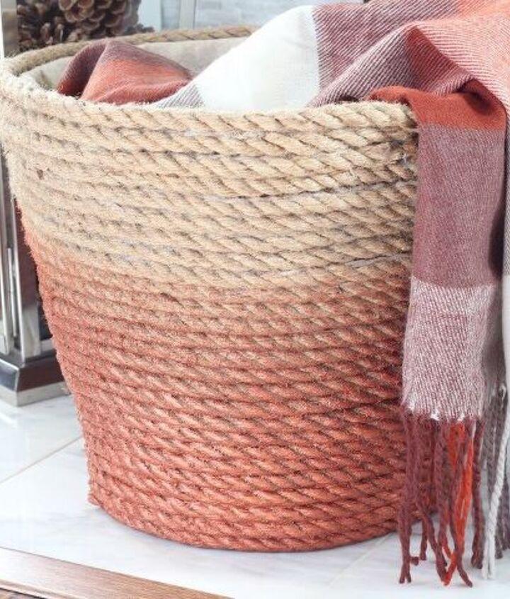 dollar store laundry basket turned chic metallic rope basket, crafts