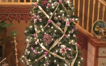 Criss Cross Ribbon Draped Christmas Tree