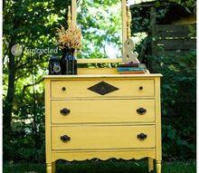 mirrored mustard dresser, painted furniture