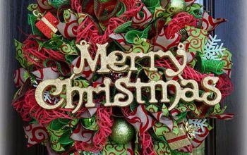 deco mesh christmas wreath using window pane mesh, crafts, wreaths