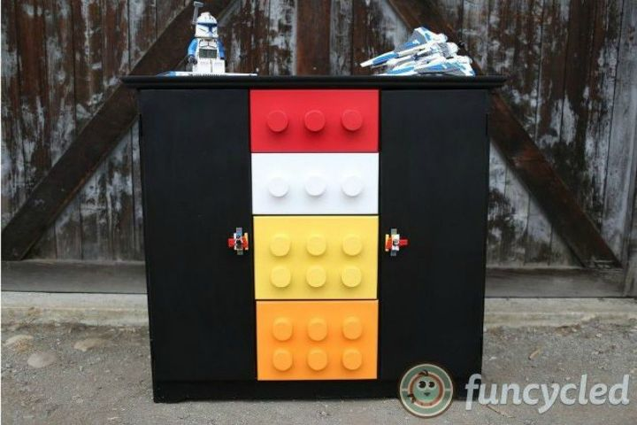 s give your kids the coolest furniture with these 14 jaw dropping ideas, painted furniture, Revamp their boring cabinet with a Lego theme