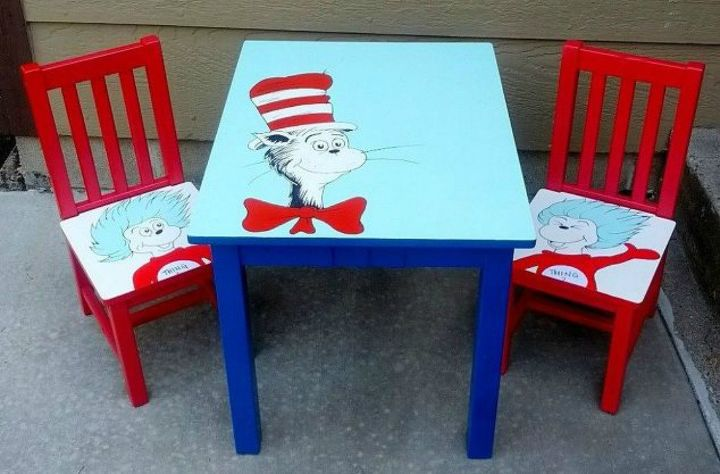 s give your kids the coolest furniture with these 14 jaw dropping ideas, painted furniture, Transform a table and chairs with Dr Suess