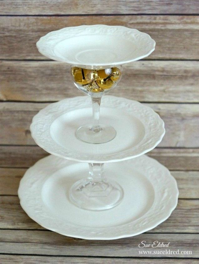 s 15 christmas decor ideas you won t have to take down, christmas decorations, home decor, This three tiered stand made from dishes
