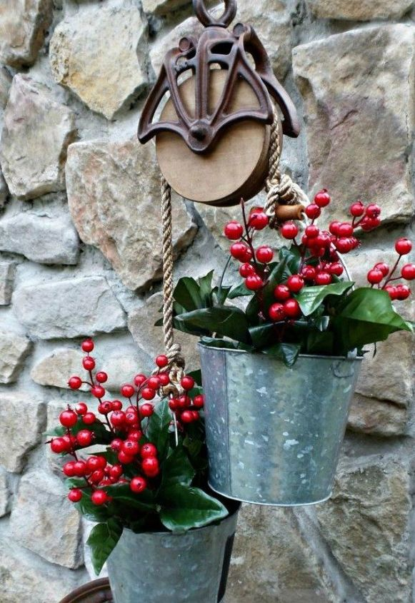 s 15 christmas decor ideas you won t have to take down, christmas decorations, home decor, This classy and rustic bucket planter