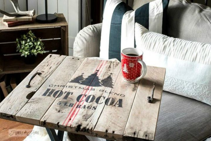 s 15 christmas decor ideas you won t have to take down, christmas decorations, home decor, This stenciled Christmas coffee table