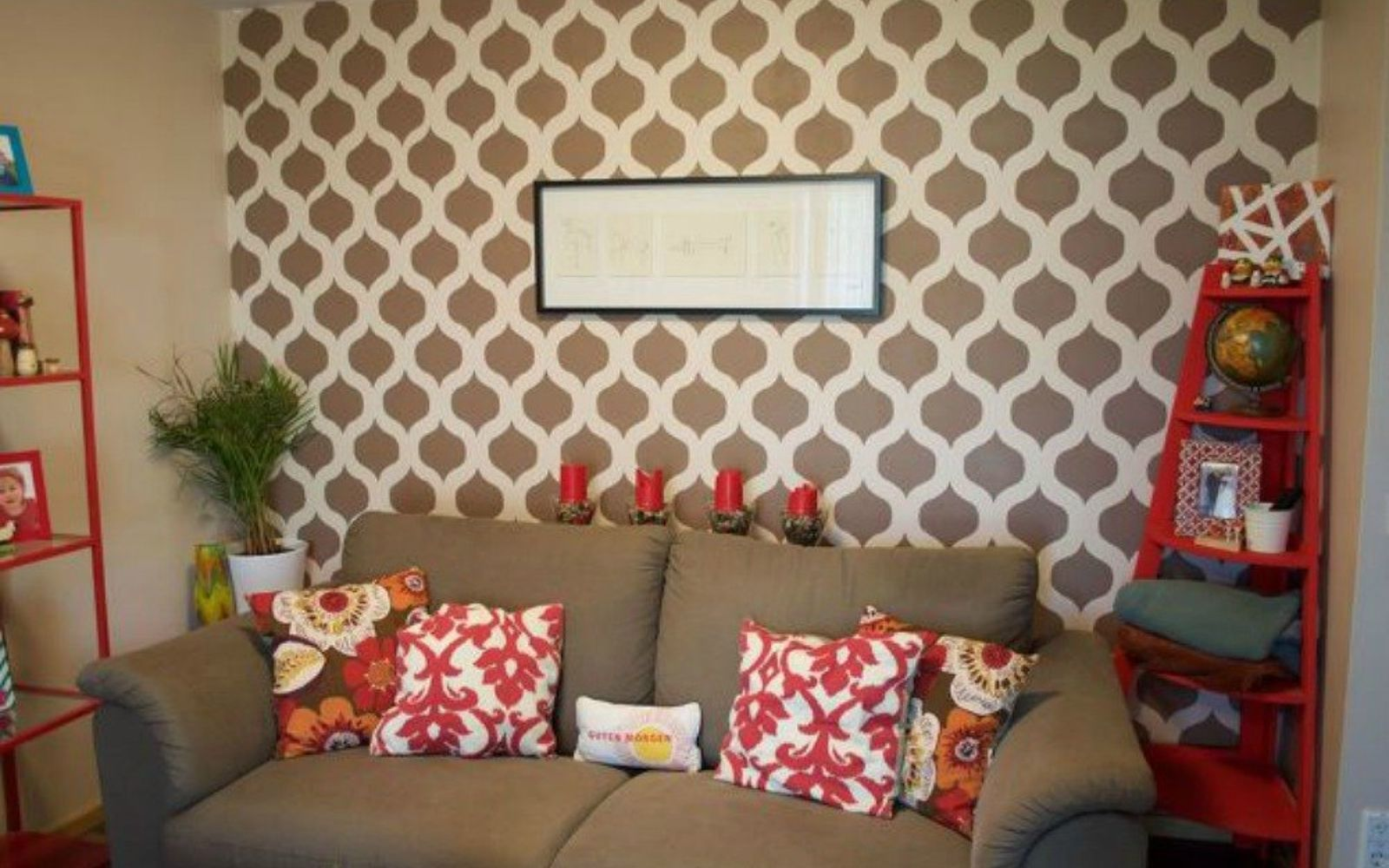 s 13 low budget ways to decorate your living room walls, go green, plumbing, Paint a simple and stylish stencil