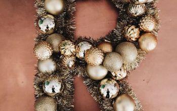 diy ornament letter wreath, christmas decorations, crafts, seasonal holiday decor, wreaths