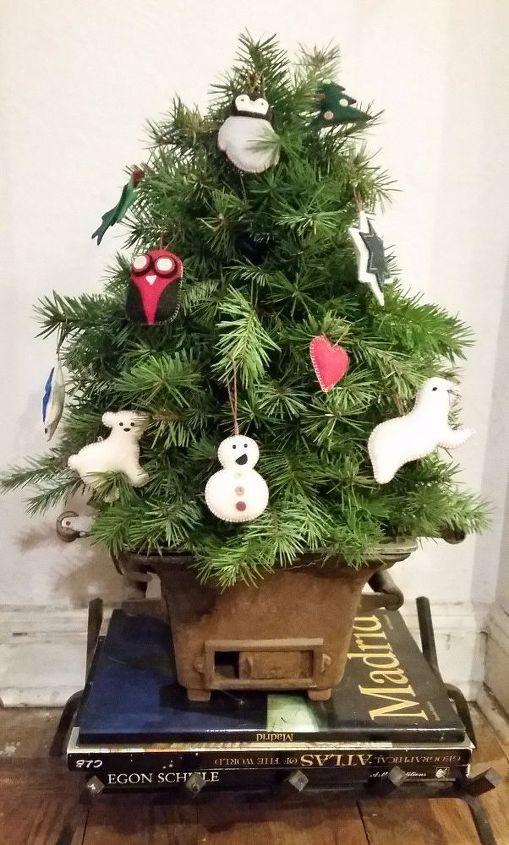 "I love my lil ""bonsai"" Faux Christmas Tree"