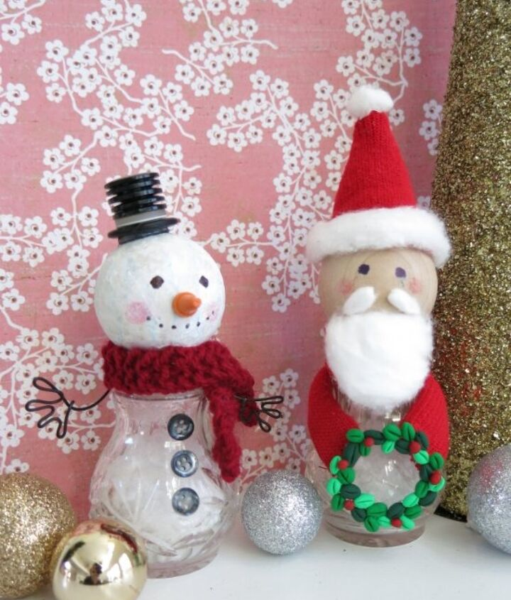 snowman and santa figures made from recycled salt and pepper shakers