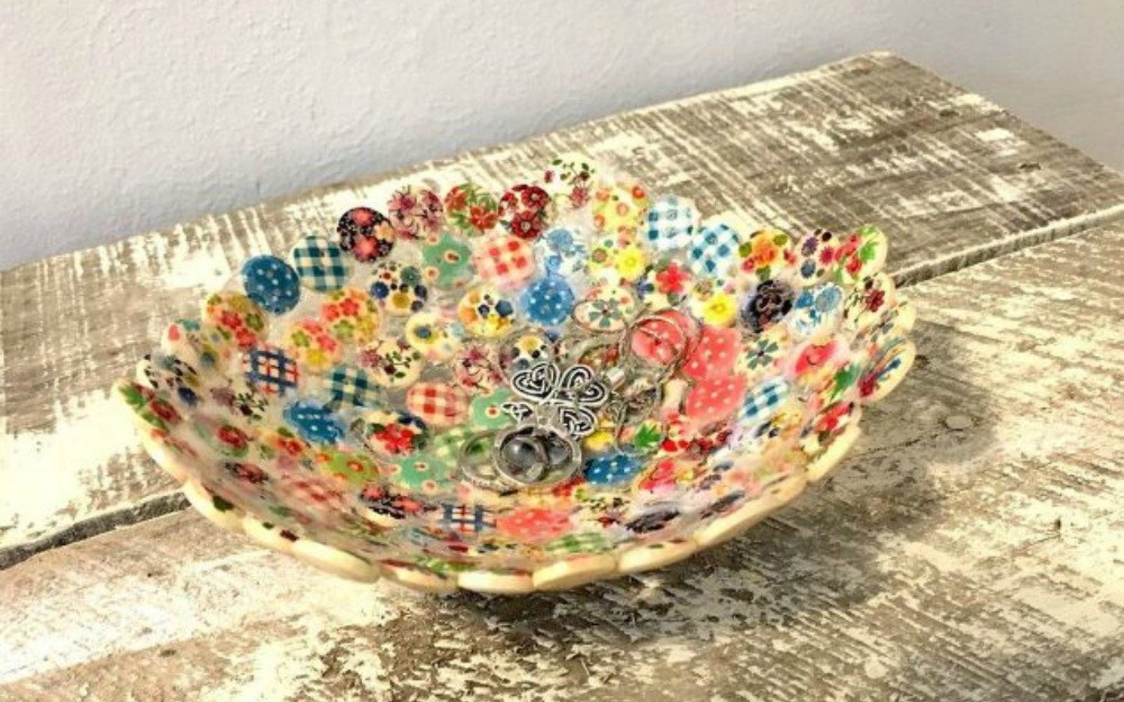 s 15 quick and easy gift ideas using buttons, Glue them into a trinket bowl