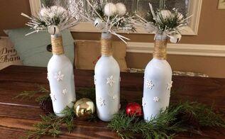 wine bottle christmas decor easy and inexpensive , christmas decorations, home decor, Finished Christmas Bottle Decor