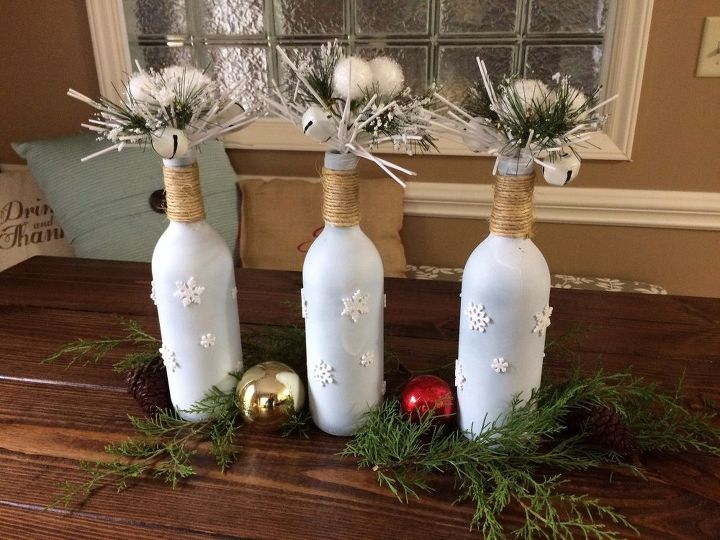 finished christmas bottle decor