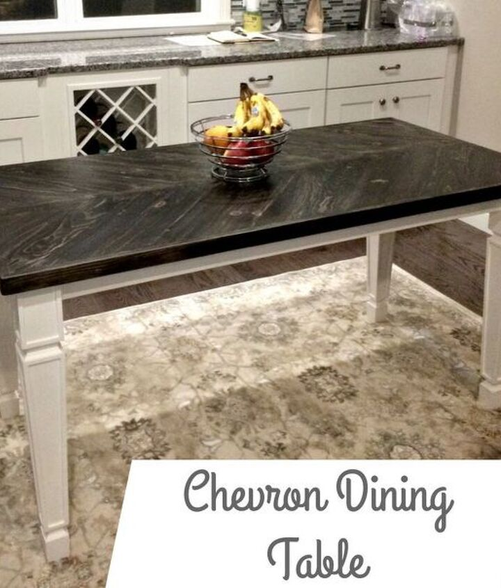 chevron dining table, painted furniture