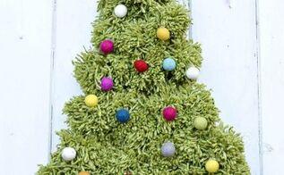 how to make a pom pom christmas tree wall hanging, how to