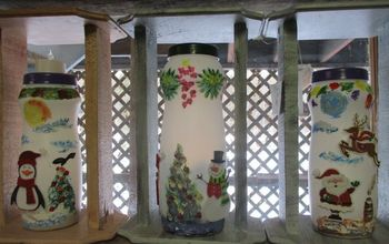 Repurposed Powdered Coffee Creamer Container Holiday Window Decoration