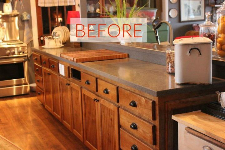 s you ll rethink your kitchen color when you see these paint combos, kitchen design, Before A long thin and brown island