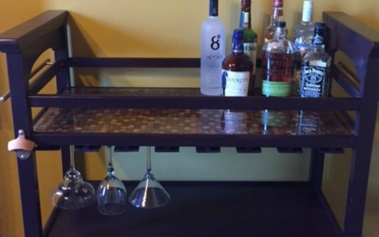 s save your pennies for these 12 jaw dropping decor ideas, home decor, This copper penny coated bar cart