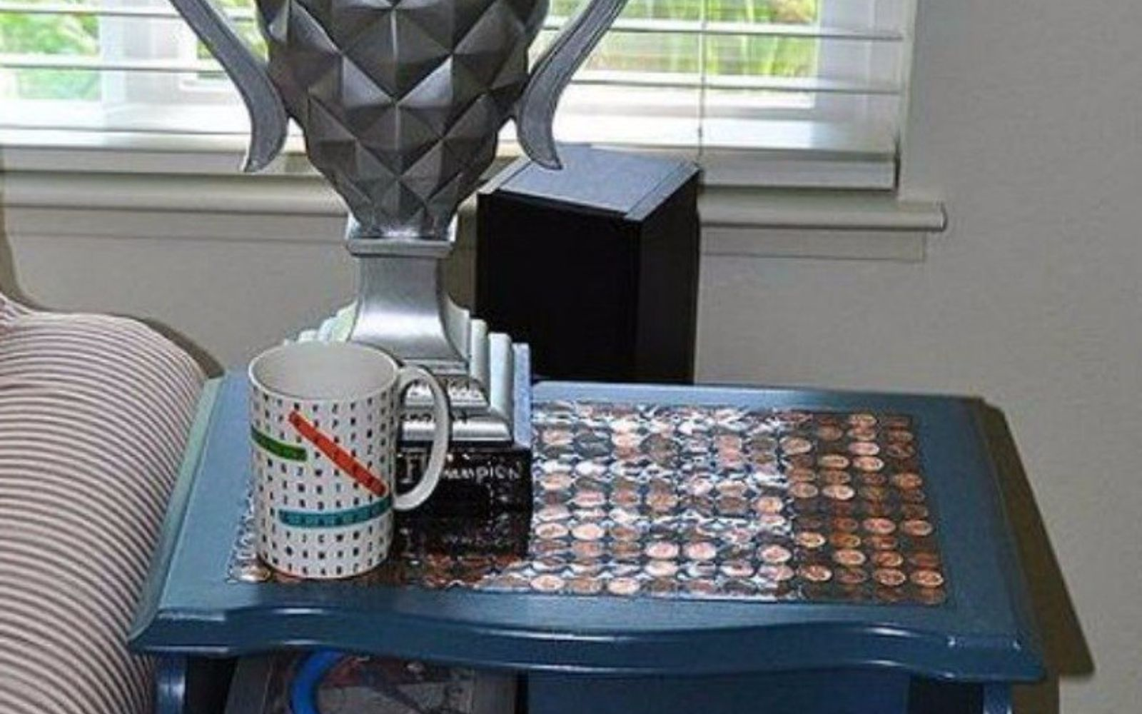 s save your pennies for these 12 jaw dropping decor ideas, home decor, This two tiered penny side table