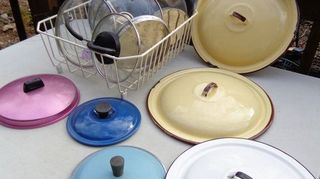 , Variety of pan lids for upcycling Any ideas how to use these Thanks Cyndi