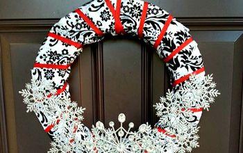 Damask and Ribbon Snowflake Wreath