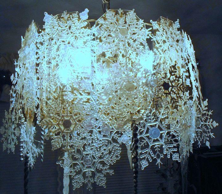 Beautiful snowflake chandelier hometalk beautiful snowflake chandelier lighting mozeypictures Choice Image