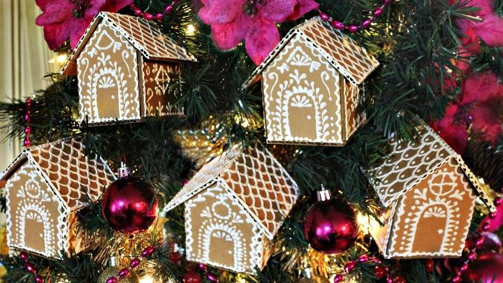 cardboard gingerbread house ornaments christmas decorations seasonal holiday decor - Gingerbread House Christmas Decorations