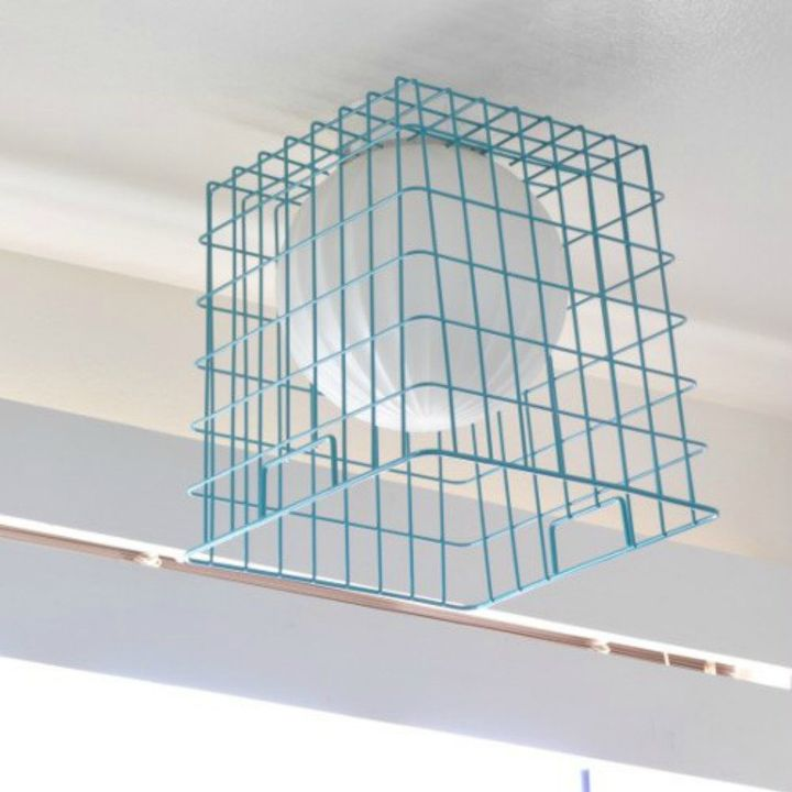 s 14 amazing basket ideas from highly creative moms, crafts, Fashion them into an industrial pendant light